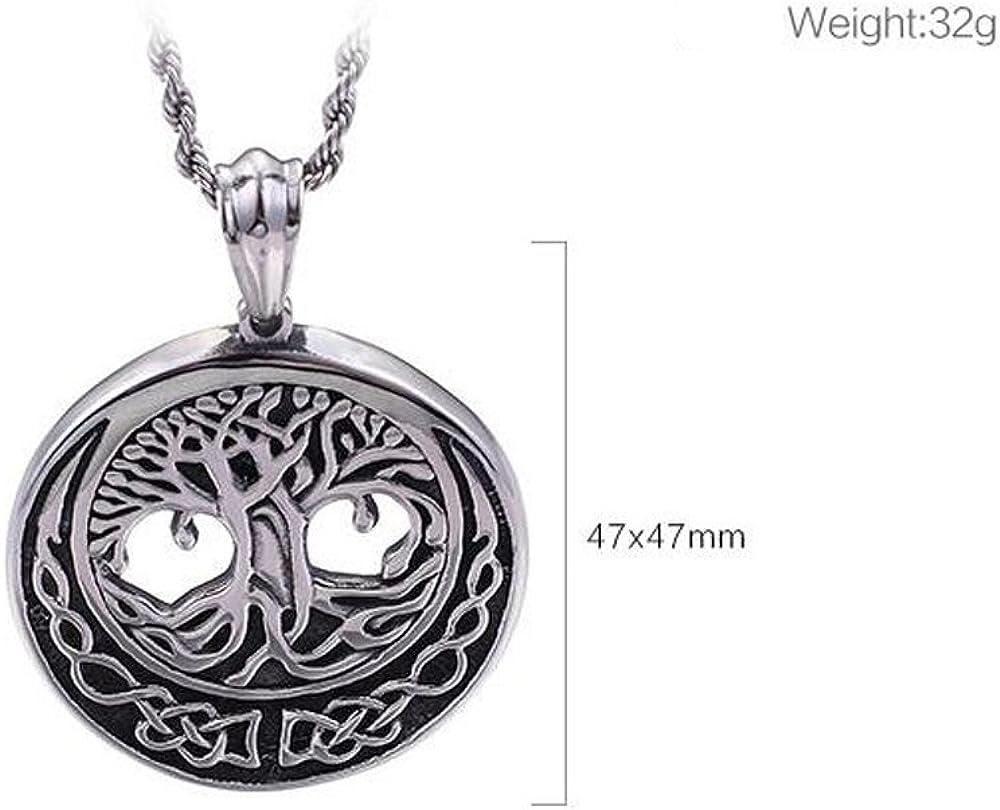 LALOPEZ Wishing Tree Necklace Round Hollow Owl Pendant Titanium Steel Men Necklaces