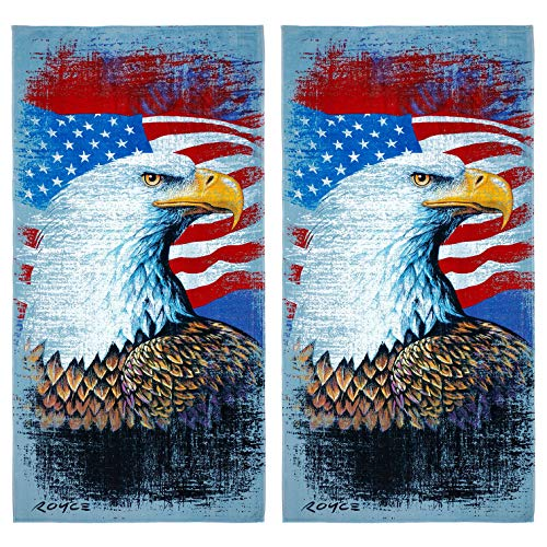 Kaufman Sales - Eagle with American Flag Beach Towel (106060) - 2 Pack Set ()