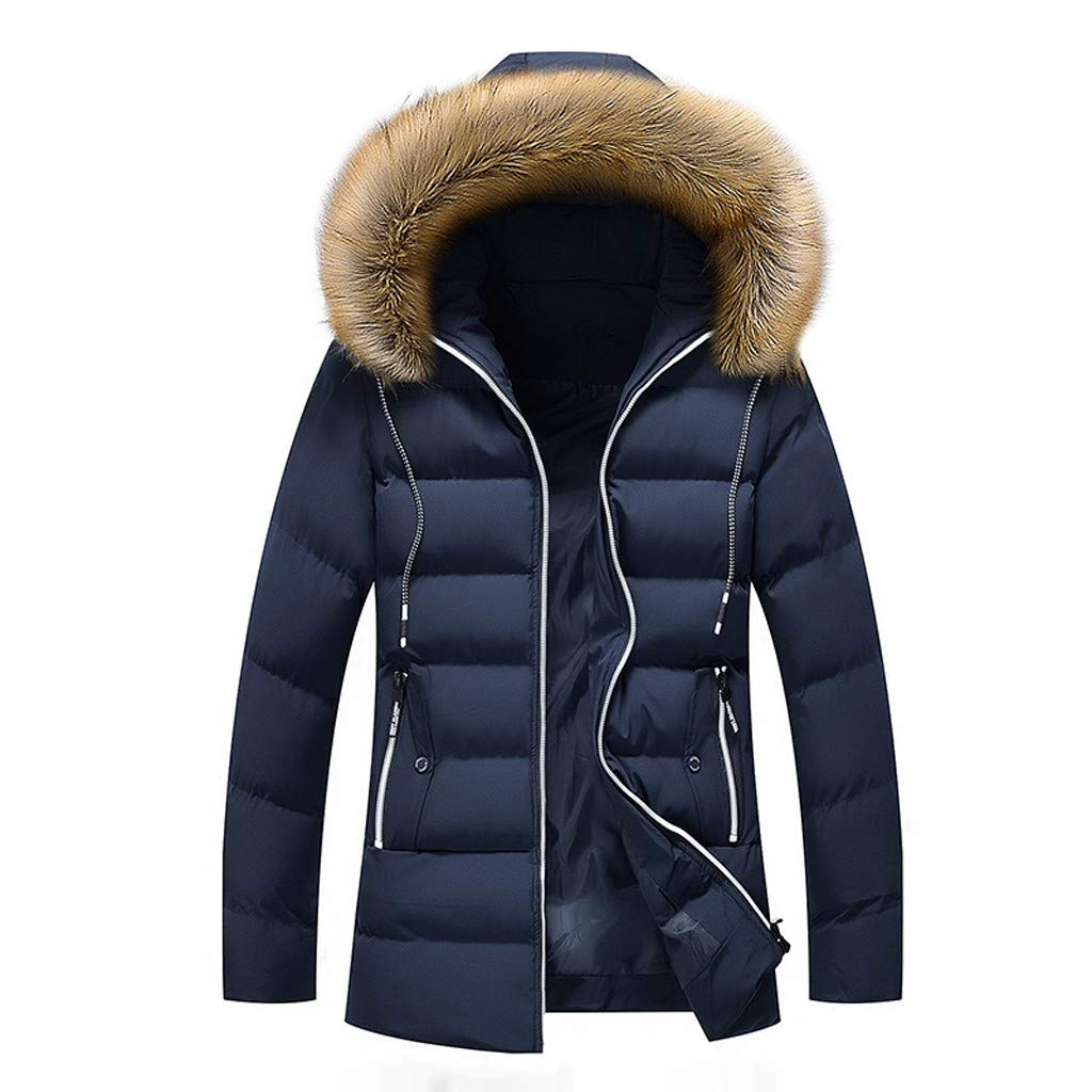 LUKALUKADA Men's Winter Mid-Length Solid Thickened Hoodie Cotton-Padded Coat Zipper Hat Detachable Jacket Dark Blue by LUKALUKADA