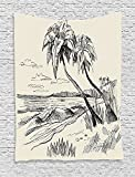 Apartment Original Sketch Of Coconut Palm Tree On Sandy Tropical Beach Exotic Oceanside View Cream Black Supersoft Throw Fleece Blanket 59.05x59.05 Inches