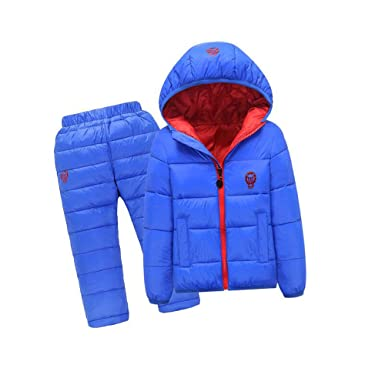 cb324cda6 Amazon.com  lifepot Kids Down Jacket Set 2 Piece Hooded Snowsuit ...