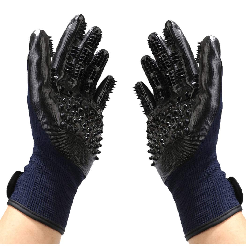 Pet Combs Hair Gloves Bathing Massage Cleaning Gloves Cats, Dogs, Cats, Hairs, Hairs, Hairs, Combs, Gloves, 26cm (one Pair) (Color : Blue, Size : 26cm)