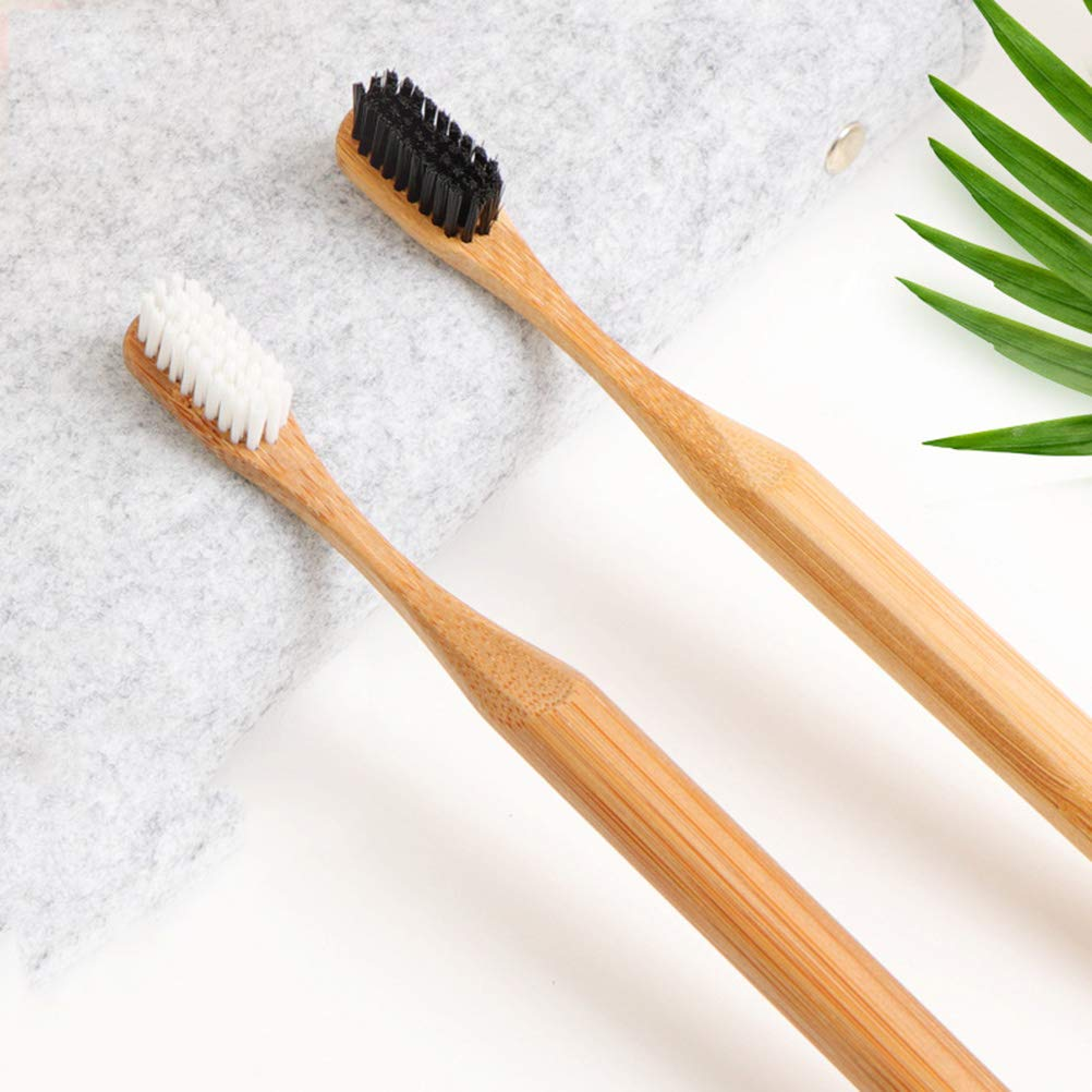 Set of 4 bamboo handled toothbrushes