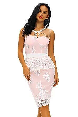 Alibuy Floral Lace Crochet Nude Illusion Pink Peplum Dress - Pink -