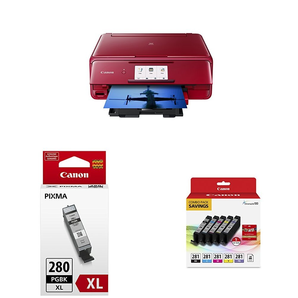 Canon TS8120 Wireless AIO Printer, Red with PGI-280XL and CLI-281 Combo Pack by Canon (Image #1)