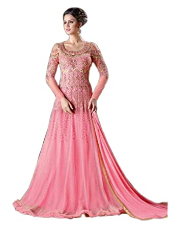 82e1dbd6f09b9 Shoppingover Bollywood Women's Party wear Floor Length Anarkali Suit with  Dupatta in Net Fabric-Pink Color: Amazon.co.uk: Clothing
