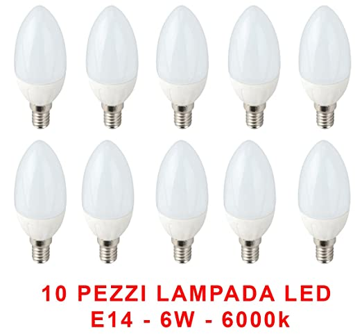 Jo Light - Lote de 10 bombillas LED tipo vela con casquillo E14, 6 W