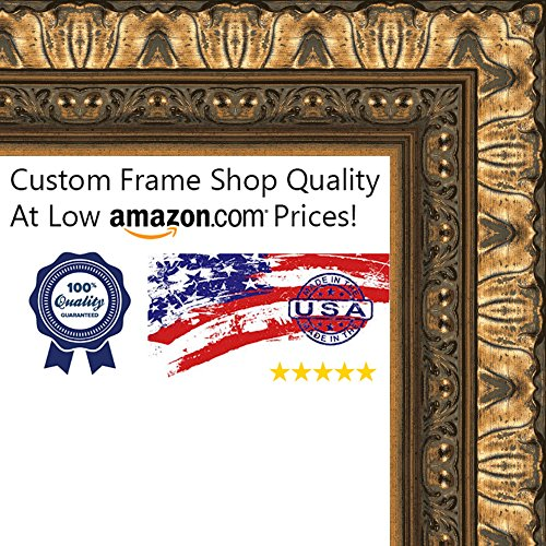 11x14 Ornate Antique Gold Wood Shadow Box Frame - UV Acry...