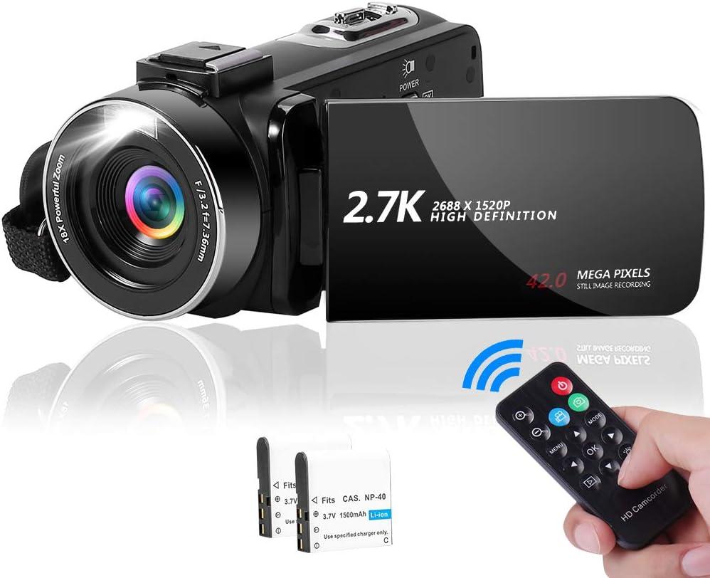 Videocámara Cámara de Video 2.7K 42MP con Luz De Relleno LED, Videocamara con Zoom Digital 18X Cámara de Vlogging con Pantalla LCD de 3.0
