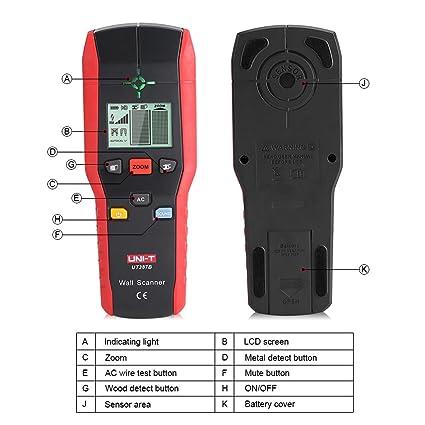 Fdit Detector de Pared Profesional Buscador Detector de Mano Digital Madera Cable de Metal de CA Herramienta de Detección de Alambre Eléctrico: Amazon.es: ...