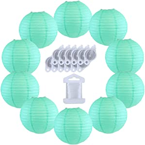 Just Artifacts 12inch Decorative Round Chinese Paper Lanterns 10pcs w/ 12pc LED Lights and Clear String (Color: Seafoam)