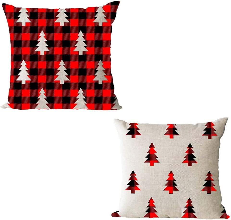 Black and White Geometric Pattern Christmas Pillow Covers