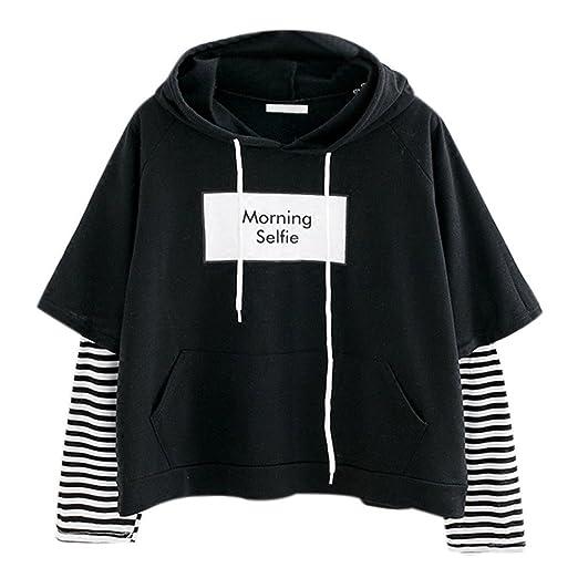 Morning Selfie SFE Women Hoodie Sweatshirt Stitching Stripe