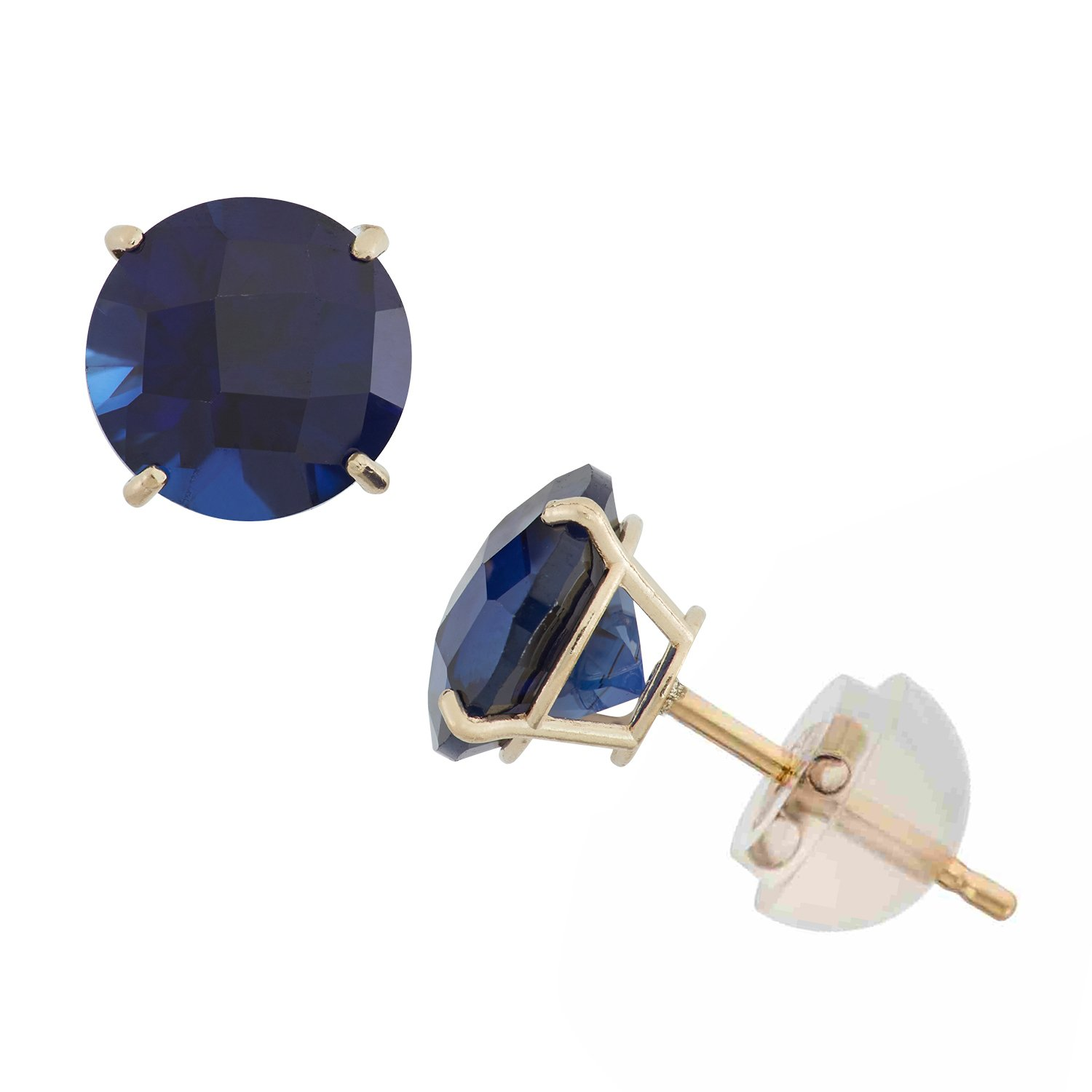 Created Sapphire Round Stud Earrings in 10K Yellow Gold, 6mm, Comfort Fit