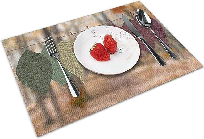 Napperons Feuilles Brunes Et Vertes Set De 6 Pour Table A Manger