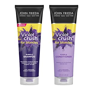 John Frieda Violet Crush Purple Shampoo and Conditioner Set, 8.3 Ounce, 2-pack, Neutralizes Brassy Tones in Blonde Hair, Safe for Color Treated Hair, with Violet Pigments