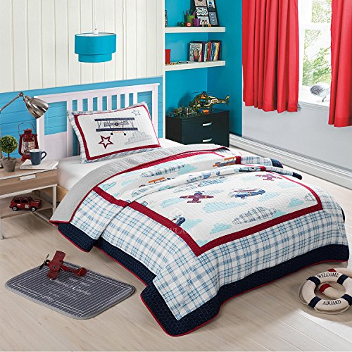 NEWLAKE Airplane Bedding Quilt Sets-2 Pieces Coverlets,