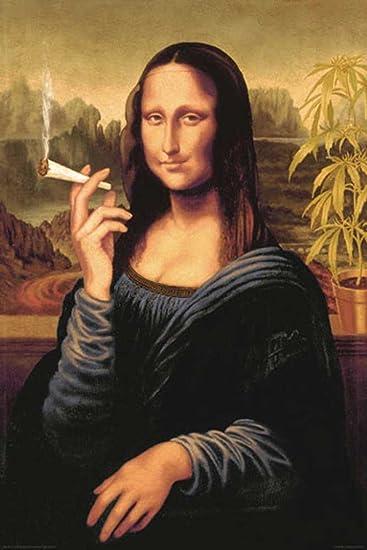 MONA LISA SMOKING JOINT ART POSTER PICTURE size 24x36 POT WEED MARIJUANA