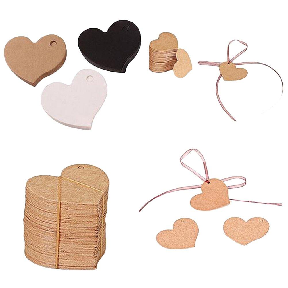 Bianco BESTOMZ 50pcs Etichette di carta kraft di cuore Targhette per prezzo Regali Cartellini per Matrimonio