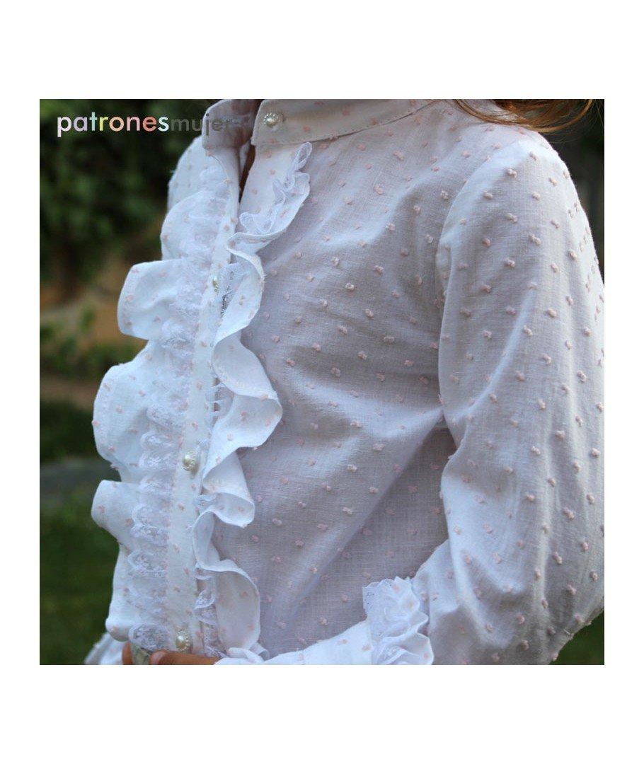 Patrón de costura conjunto de blusa con chorrera y bombacho niña, con vídeo-tutorial para realizarlo. Talla 1 a 10 años. Patrón multitalla en papel.
