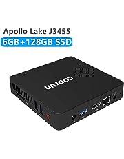 Mini PC Intel Apollo Lake Celeron J3455 (bis zu 2,3 GHz), 6 G DDR3 / SSD 128 GB Windows 10 Pro (64 Bit) HDMI- und VGA-HD-Display Dual-WLAN USB 3.0 / BT 4.2 unterstützt Linux, WOL und PXE Boot