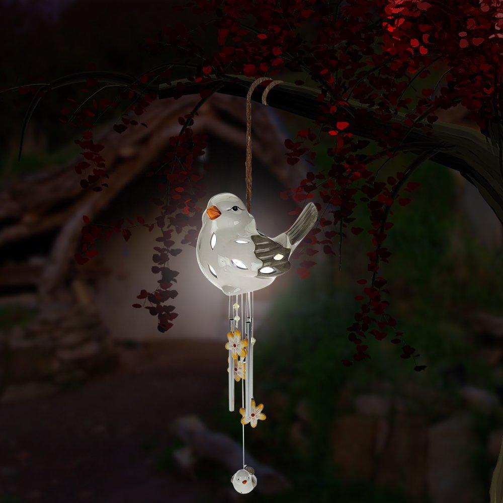 Sitting Bird Wind Chime - Solar LED, Porcelain & Steel - White.
