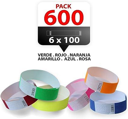 Pack 600 Pulseras papel TYVEK para eventos 19mm Multi colores ...