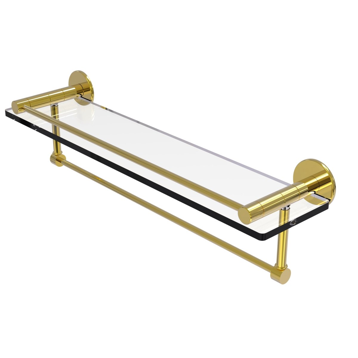 Antique Copper Allied Brass FR-1//22GTB-CA Fresno Collection 22 Inch Glass Shelf with Vanity Rail and Integrated Towel Bar