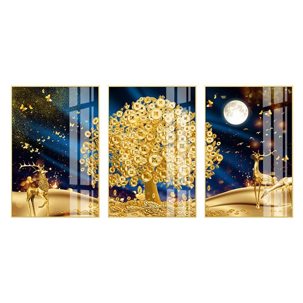プリントアートワークブルースカイ星空の蝶鹿プリント壁アート絵画, リビングルームの装飾とモダンな家の装飾のために,13.7×15.7in 13.7×15.7in  B07SCNRMYC