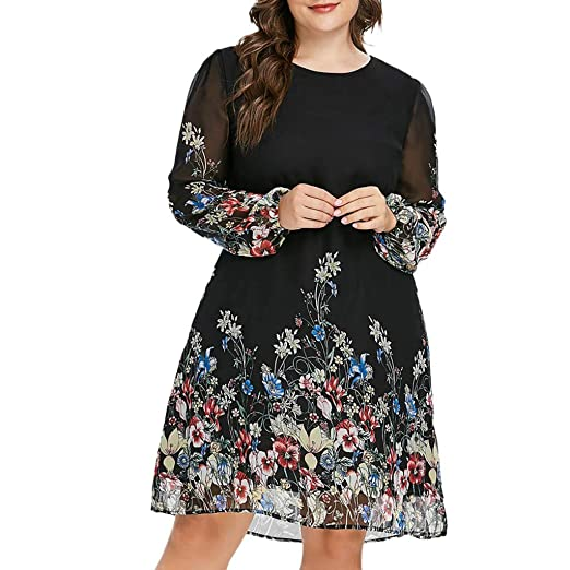 8c2dce5e0e66f Women Long Sleeve Chiffon Tunic Dress, Lady Casual Vintage Floral ...