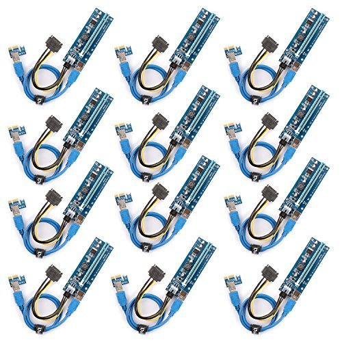 Ubit 12-PCS PCI-E Riser for Bitcoin\Litecoin\ETH coin PCIe VER 006C 6 PIN 16x to 1x Powered Riser Adapter Card 6-Pin PCI-E to SATA Power Cable - GPU Riser Adapter - Ethereum Mining ETH