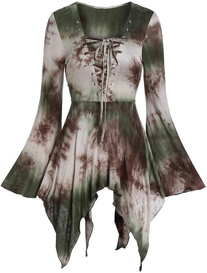 Camisetas Mujer Manga Larga Halloween Teñido de Corbata Gótico ...
