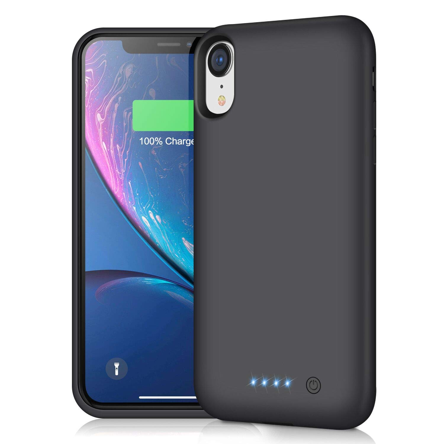 Pxwaxpy Battery Case for iPhone XR, 6800mAh Portable Protective Charging Case for iPhone XR Extended Rechargeable Charger Case Battery Pack Compatible with Apple XR Power Bank Cover(6.1 inch), Black by Pxwaxpy