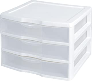 """product image for Sterilite 3-Drawer Organizer - ClearView Wide 2093 (White / Clear) (10.25""""H x 14.5""""W x 14.25""""D) PACK OF 2"""