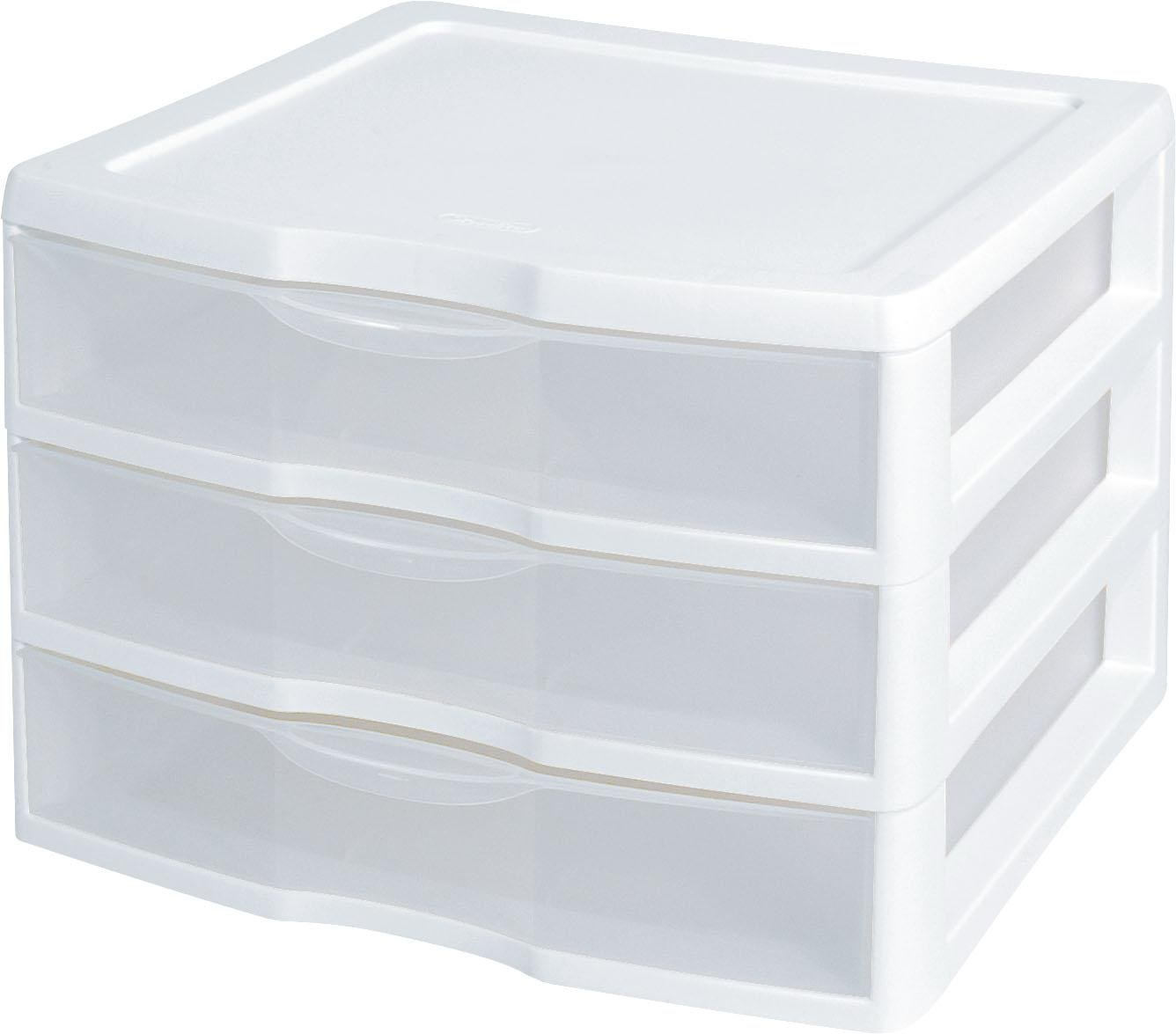 "Sterilite 3-Drawer Organizer - ClearView Wide 2093 (White / Clear) (10.25""H x 14.5""W x 14.25""D) PACK OF 2"