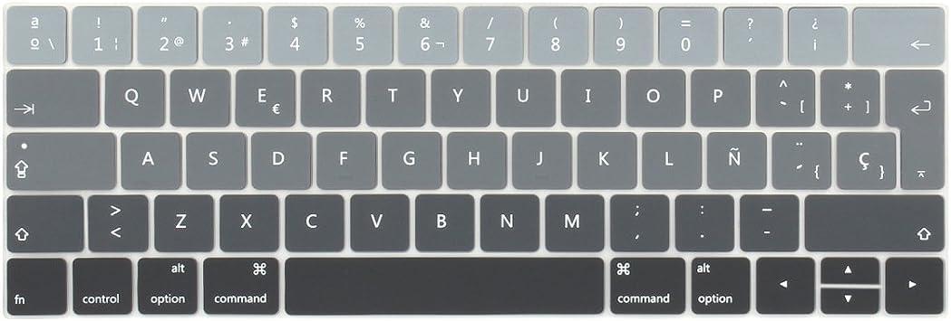 TwoL española Cubierta del Teclado/Keyboard Cover para MacBook Pro 13 15 2016 2017 2018 2019 con Touch Bar A2159 A1706 A1707 A1989 A1990 Silicone Skin ...
