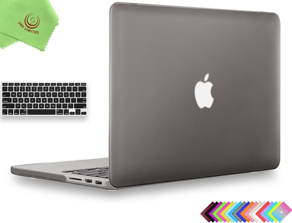 UESWILL 2 in 1 Matte Hard Shell Case with Keyboard Cover Compatible with MacBook Pro 15 inch with Retina Display (Model A1398, Mid 2015/2014/2013/Mid 2012), NO CD-ROM, NO Touch Bar, Gray