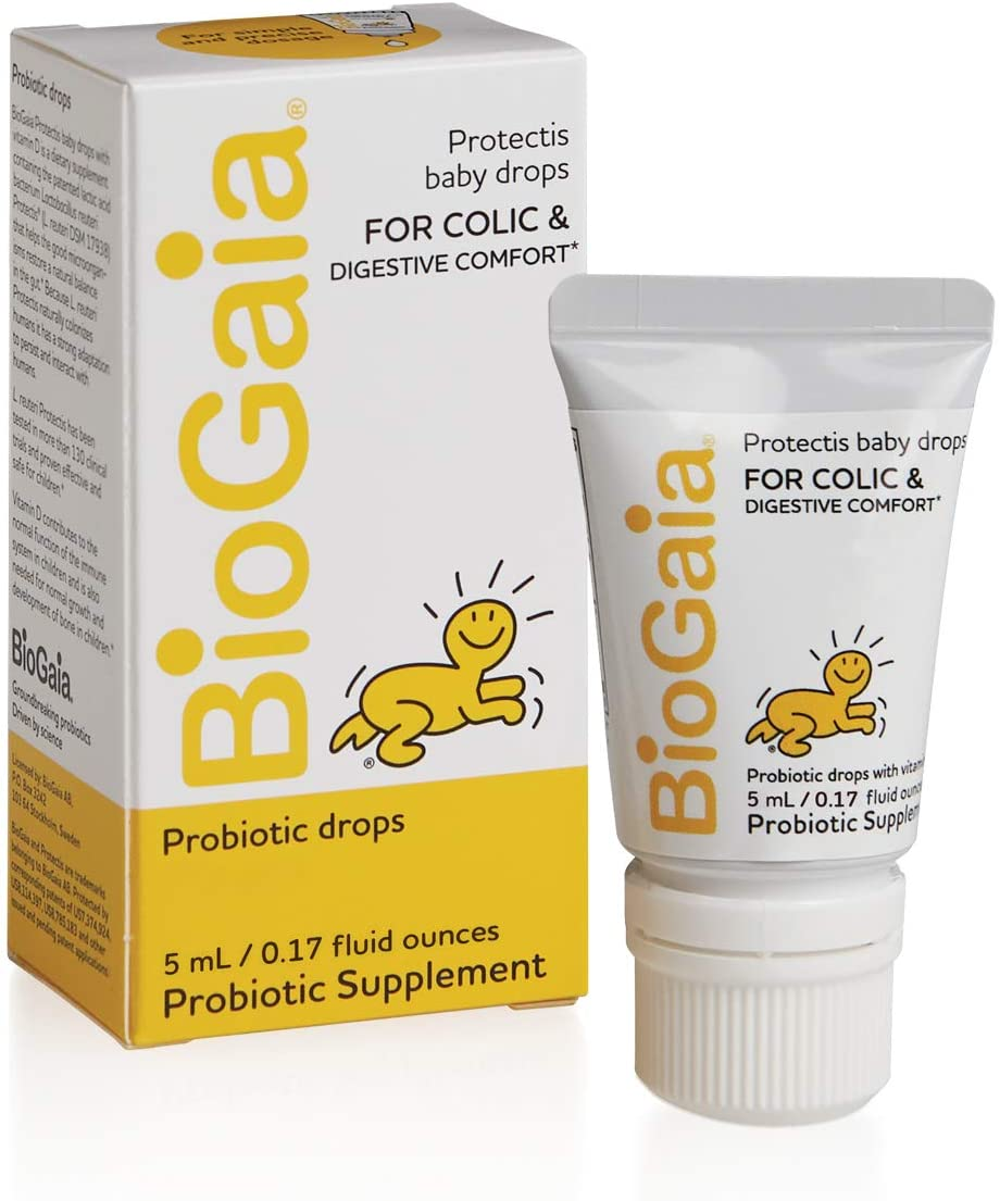 BioGaia Protectis Probiotics Drops for Baby, Infants, Newborn and Kids Colic, Spit-Up, Constipation and Digestive Comfort, 5 ML, 0.17 oz, 2 Pack