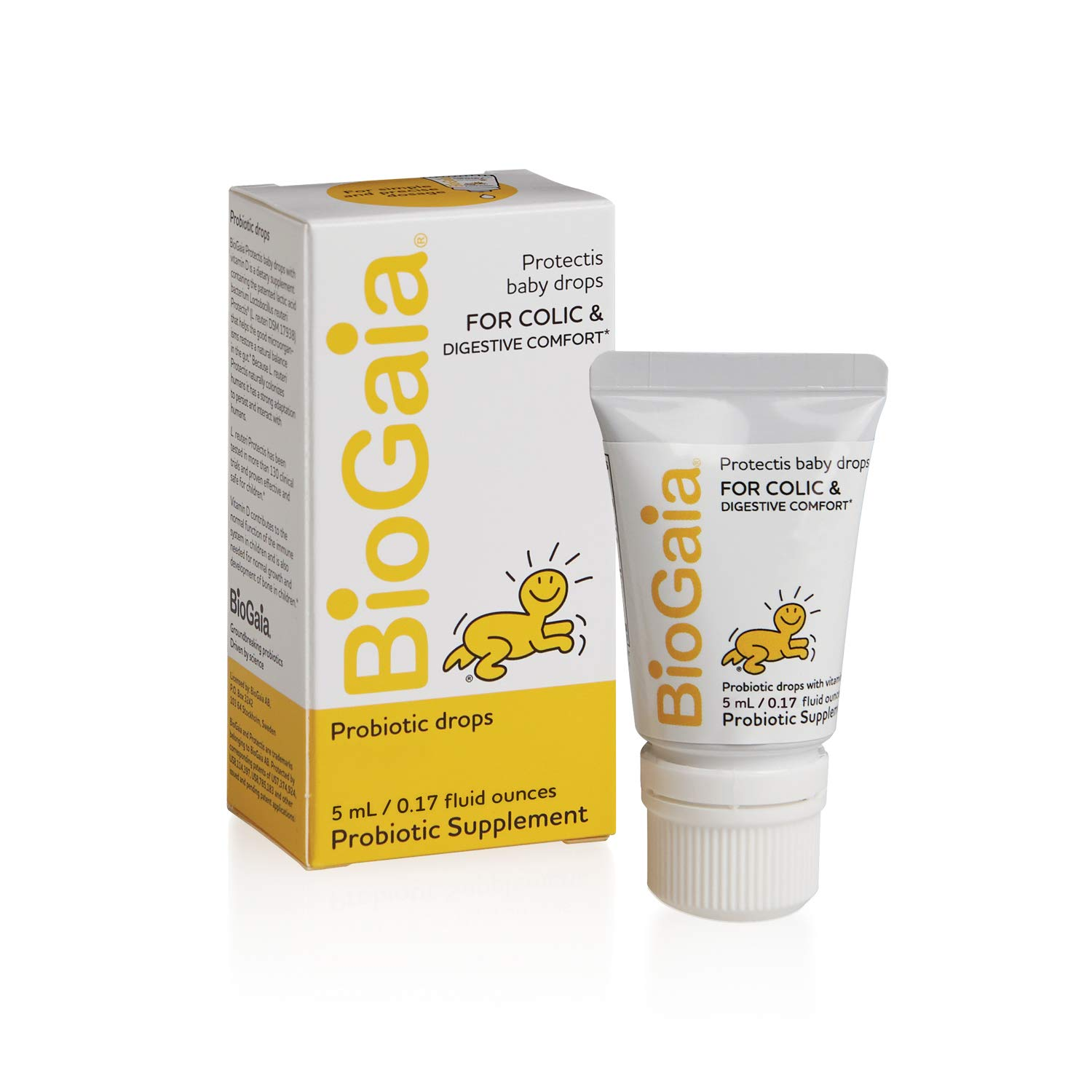 BioGaia Protectis Probiotics Drops for Baby, Infants, Newborn and Kids Colic, Spit-Up, Constipation and Digestive Comfort, 5 ML, 0.17 oz, 1 Pack by BioGaia