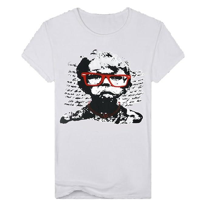 dc453a25373 Casual Graffiti Lion Impresión 3D de Manga Corta para Hombre Camiseta con  Cuello Redondo Top BlusaCamiseta