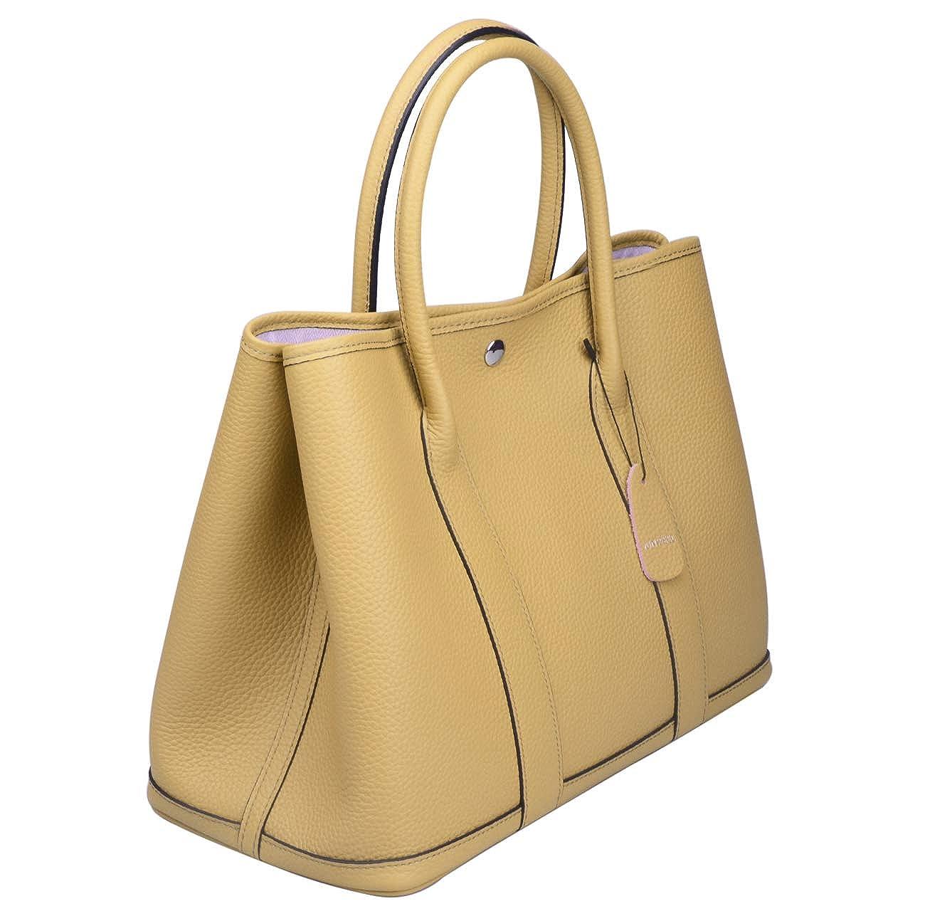 Ainifeel Women s Genuine Leather Tote Bag Top Handle Handbags (Apricot)   Handbags  Amazon.com