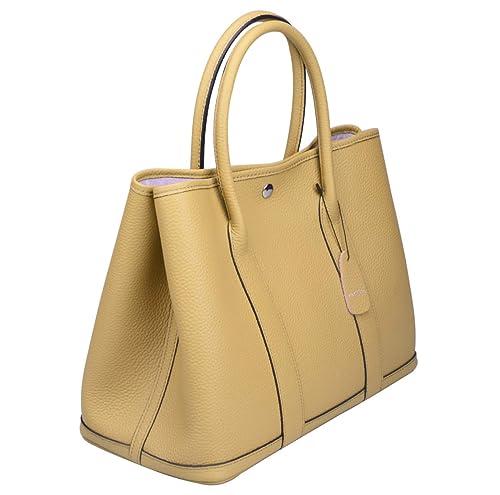 c75472bbde Ainifeel Women s Genuine Leather Tote Bag Top Handle Handbags (Apricot)