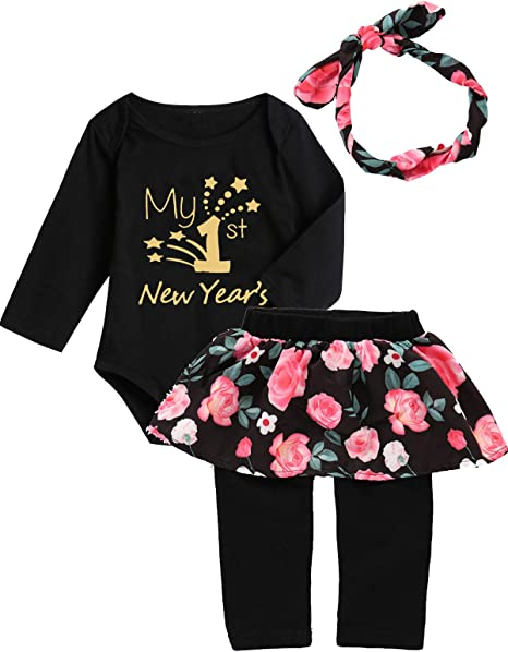 Amazon Com Mutiggee Toddler My 1st New Year Outfit Baby Girls New Year Eve Skirt Set Clothing