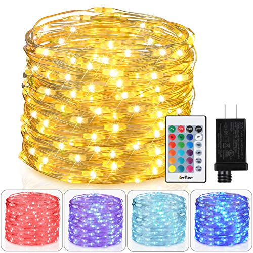 Homestarry Fairy Lights Plug in Multi Color Change Remote String Lights Fairy Lights with Timer, 33 ft 100 LEDs Firefly Twinkle Lights for Indoor, Bedroom, Party, Wedding, Christmas Decor, 16 Color ¡