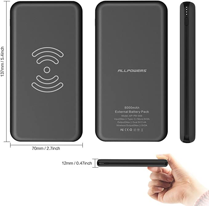 Wireless Power Bank, ALLPOWERS Cargador Móvil Portátil Batería Externa 10000mAh Cargador Inalámbrico Rápido Power ...