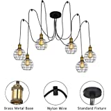 KARMIQI 6 Lights Industrial Chandelier Hanging Pendant Lighting with Edison Style Bulbs, Adjustable Iron Cage Spider Ceiling Lighting Fixtures for Living Room Dining Bedroom Hall Hotel- Black