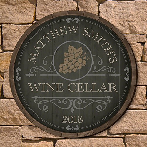 (Beauteous Barrel Personalized Wine Cellar Sign by HomeWetBar - Great Gift for Wine Lovers)