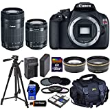 Canon EOS Rebel T5 DSLR Camera with 18-55mm IS II & 55-250mm STM Zoom Lenses (International Version) + Tele & Wide Lenses + ND Filters ND2,ND4,ND8 + 14pc 32GB Deluxe Accessory Kit