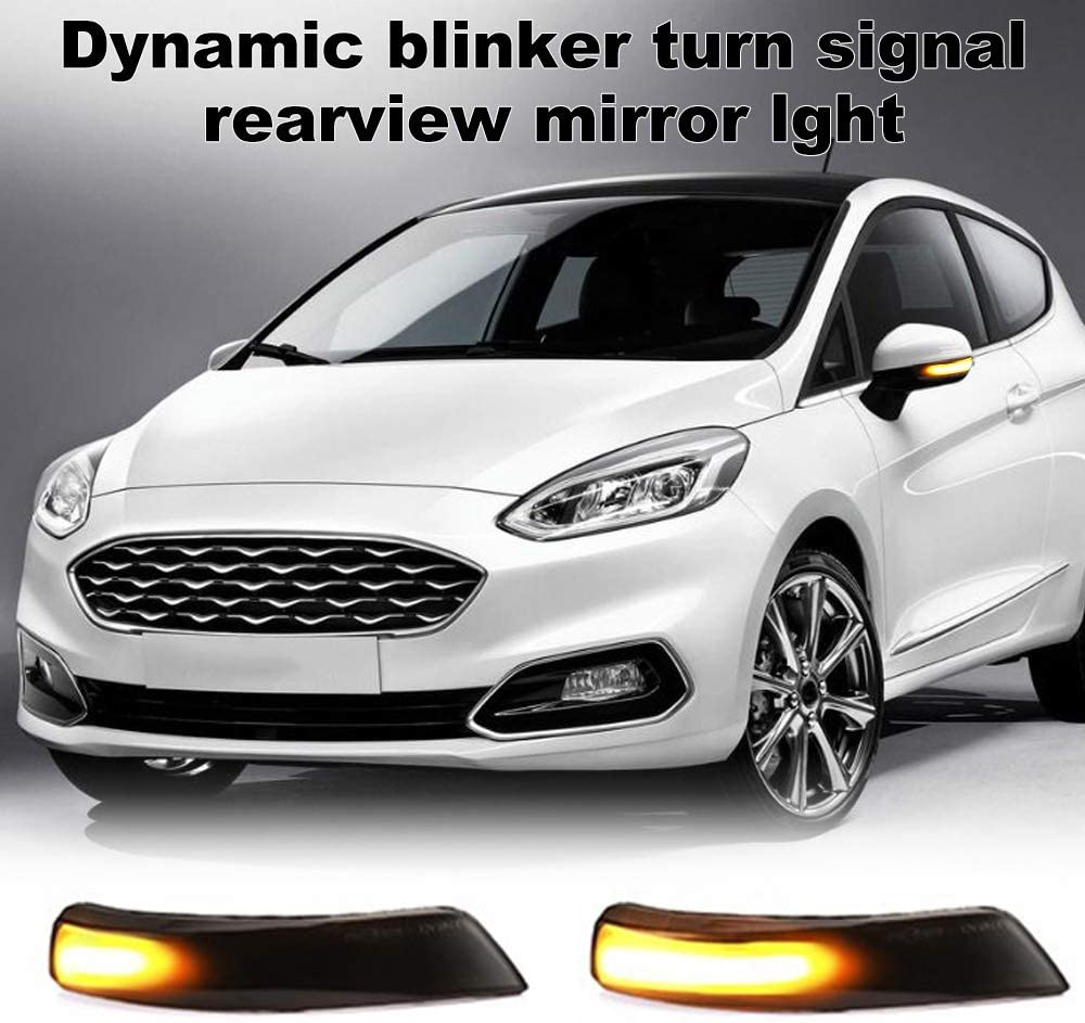GoolRC 2pcs Dynamic Turn Signal Light LED Side Wing Rearview Mirror Indicator Blinker Light Replacement for Ford Fiesta Mk7 B-Max 2008-2017