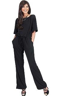 19ab9685bfba KOH KOH Womens Short Sleeve Long Pants Suit Jumpsuit Playsuit One Piece  Romper
